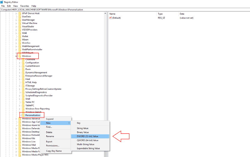 Screenshot of Windows 10 registry setting for disable lock screen