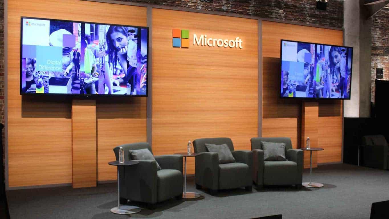 Chairs under a Microsoft logo