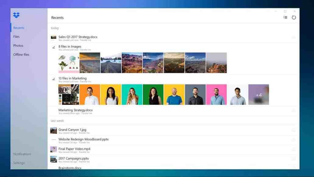 The new Dropbox Windows 10 app