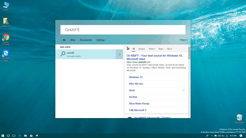 New Cortana UI