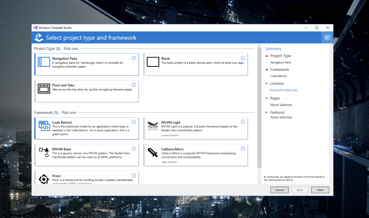 Windows Template Studio 1 7 is out with support for Visual