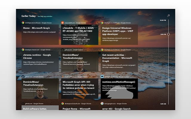 Windows 10 Timeline extension for Google Chrome