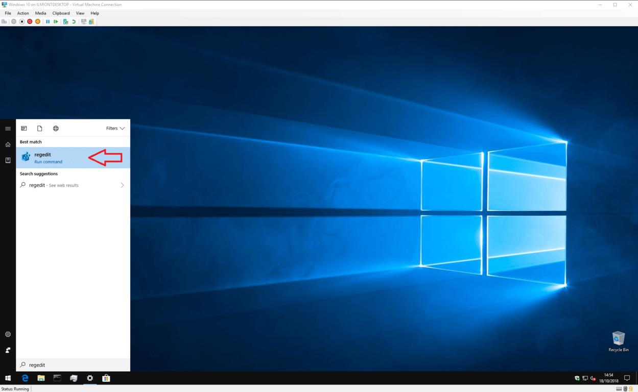 Opening Registry Editor screenshot