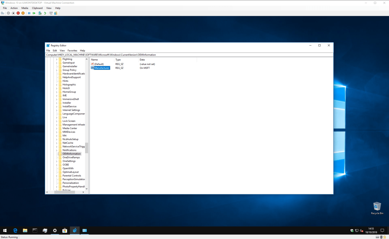Screenshot of editing OEM information in the registry
