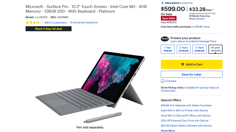 Surface Pro 6 deals