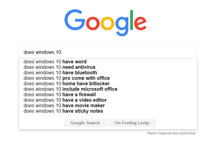"""Does Windows 10 need antivirus"" ranks highly in search results"