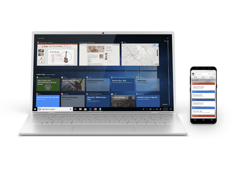 Microsoft, Timeline, Windows 10, Android, iPhone