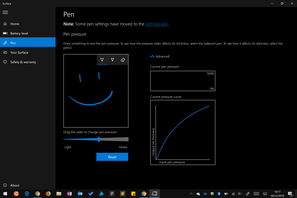 Surface app pen settings screenshot