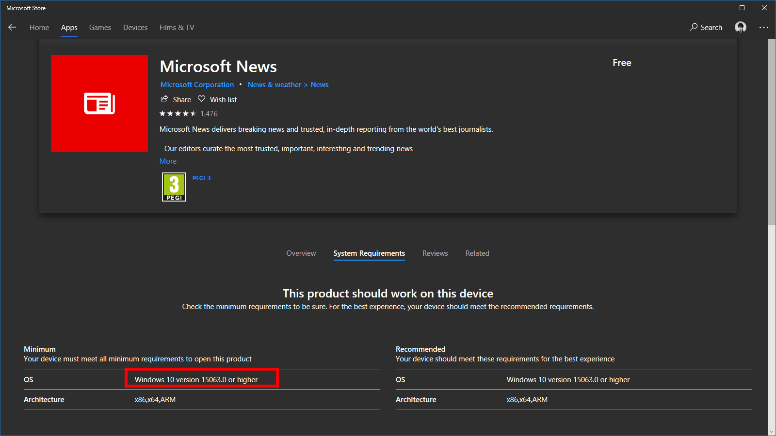 Microsoft News now requires 15063