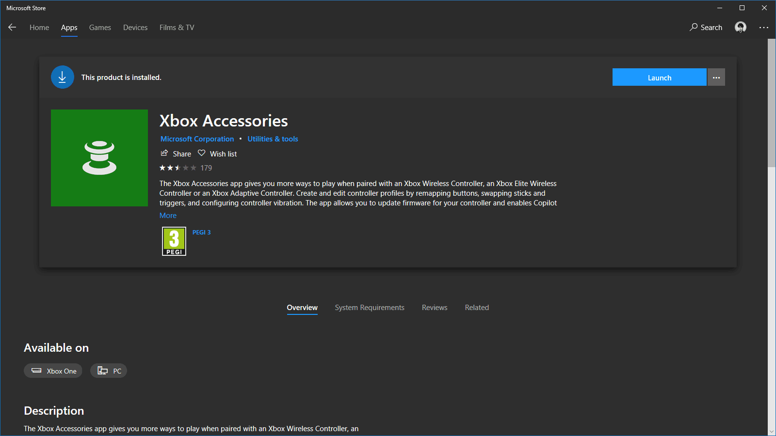 Xbox Accessories in the Windows Store