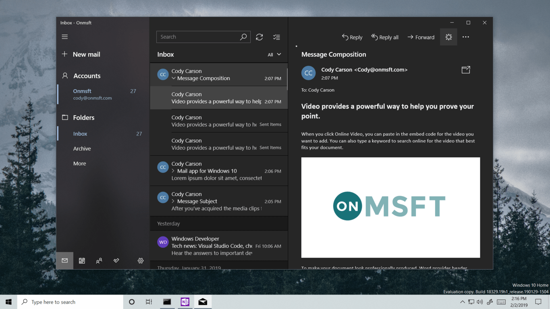 Mail UI dark theme
