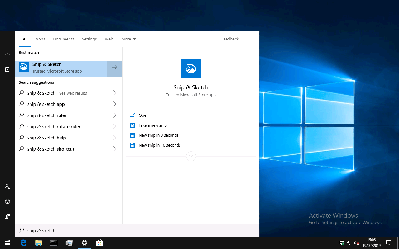 Screenshot of Windows 10 Snip & Sketch app