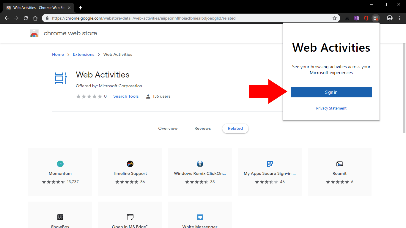 Web Activities Chrome extension