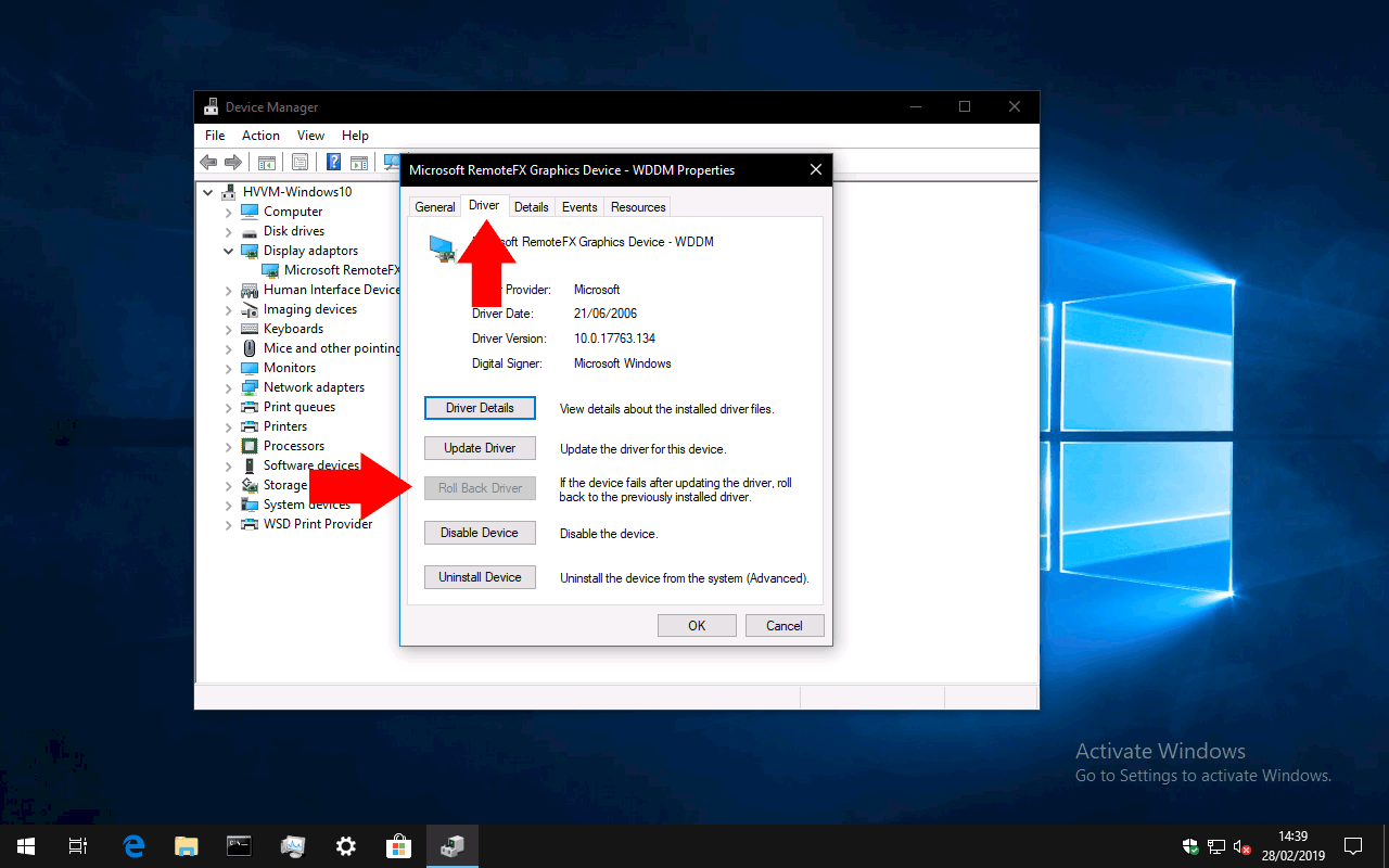 Rolling back a Windows driver update in device manager