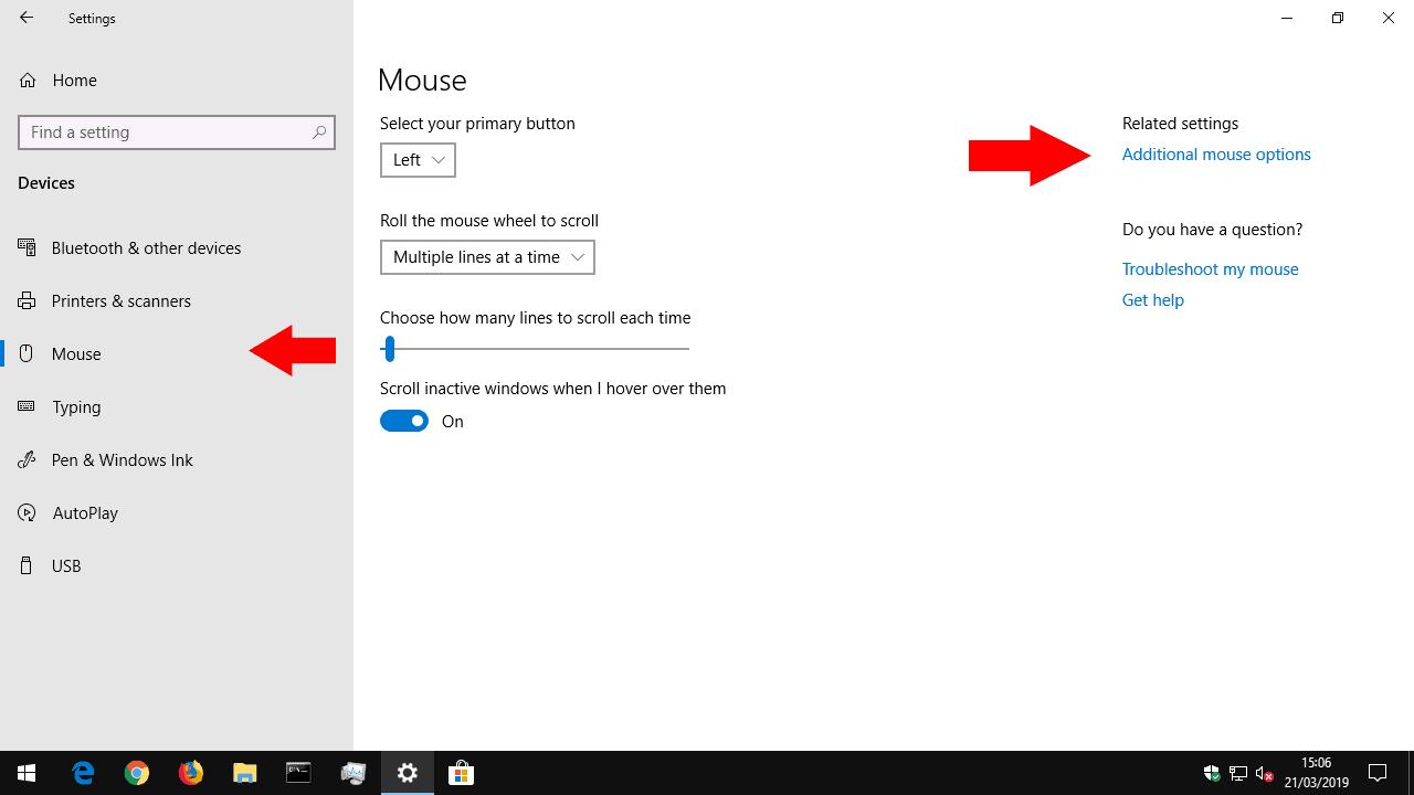 Windows Mouse settings screenshot