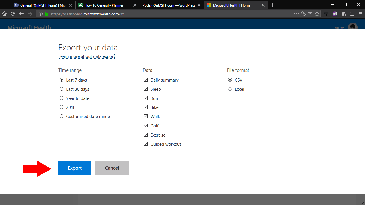 Exporting data from Microsoft Health