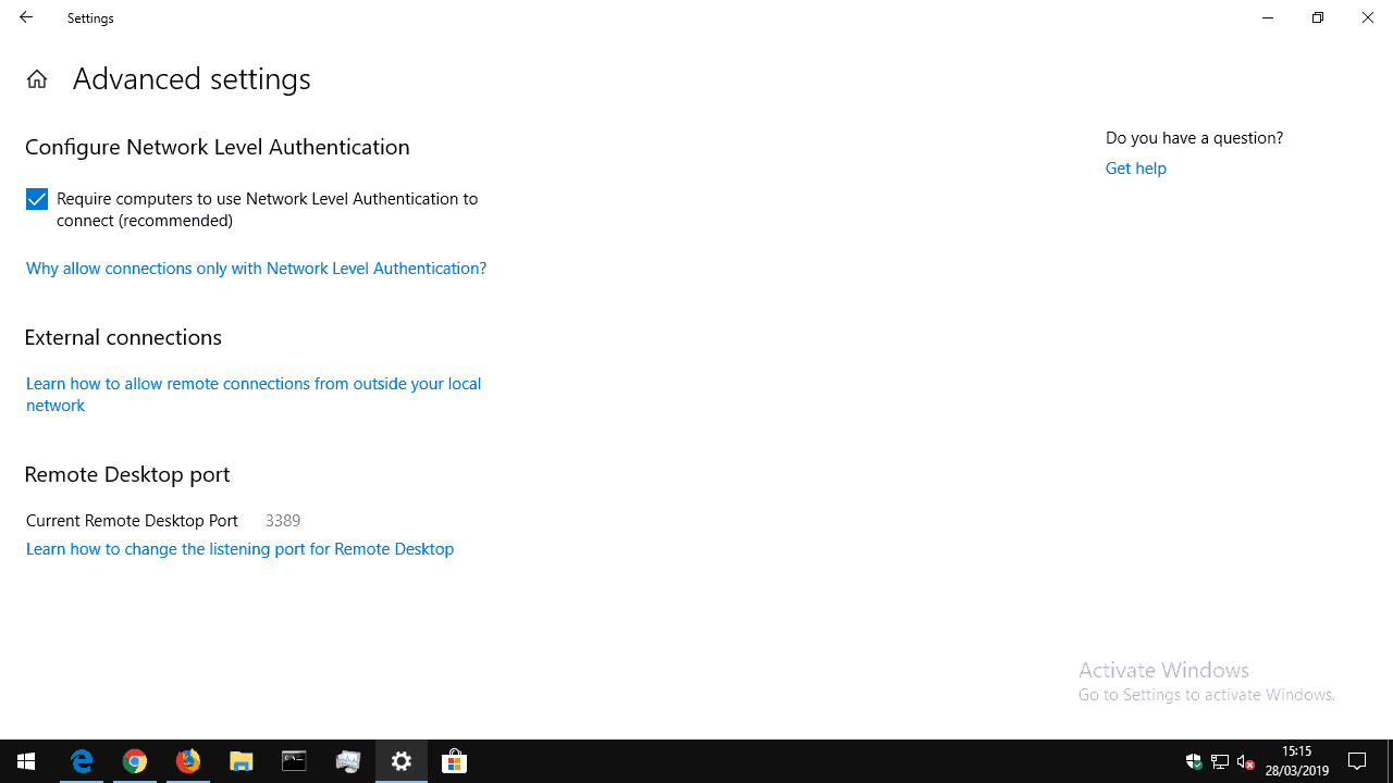 Remote Desktop settings in Windows 10