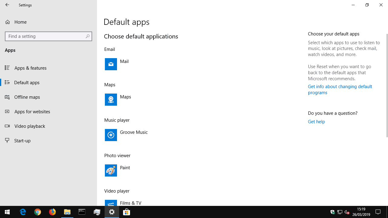 Setting default apps in Windows 10