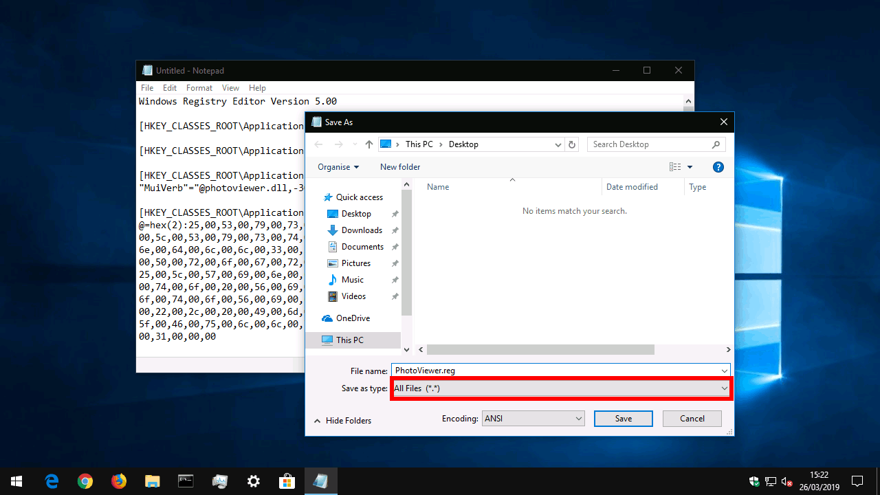 Saving registry file in Windows 10