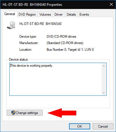 Editing DVD drive region in Windows 10