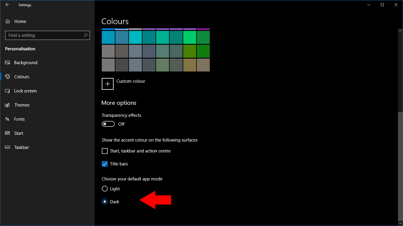 Setting Windows 10 colour scheme