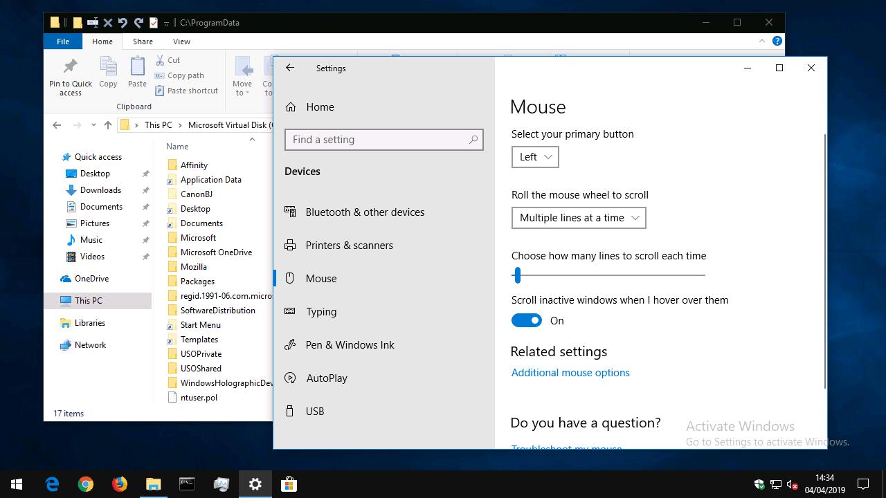 Inactive window scrolling in Windows 10