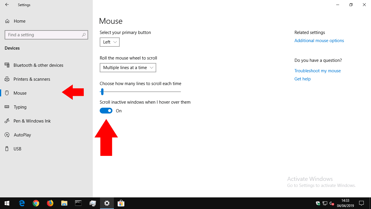 Inactive window scrolling in Windows 10