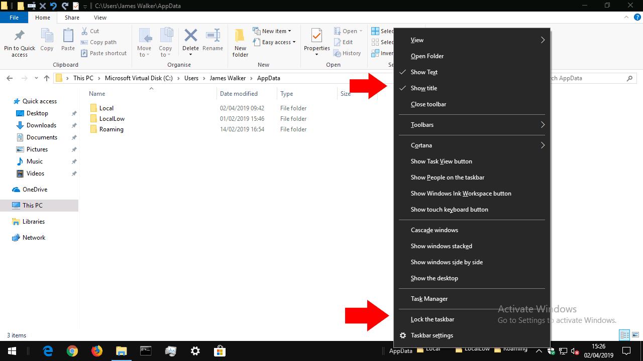 Windows 10 taskbar toolbar creation