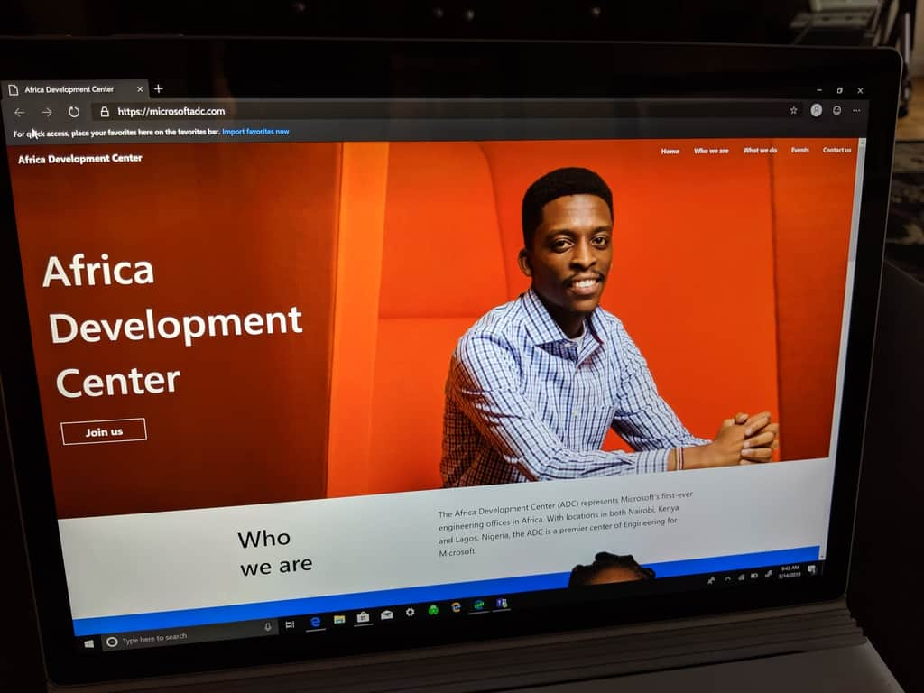 Microsoft ADC webpage for Kenya and Nigeria
