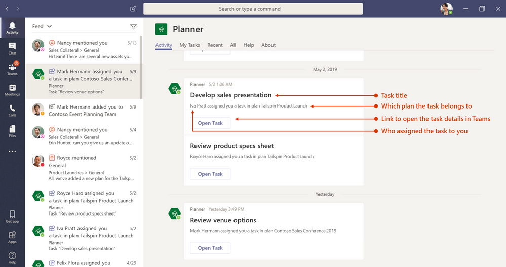 Microsoft Teams and Planner integration. Image courtesy of Microsoft.