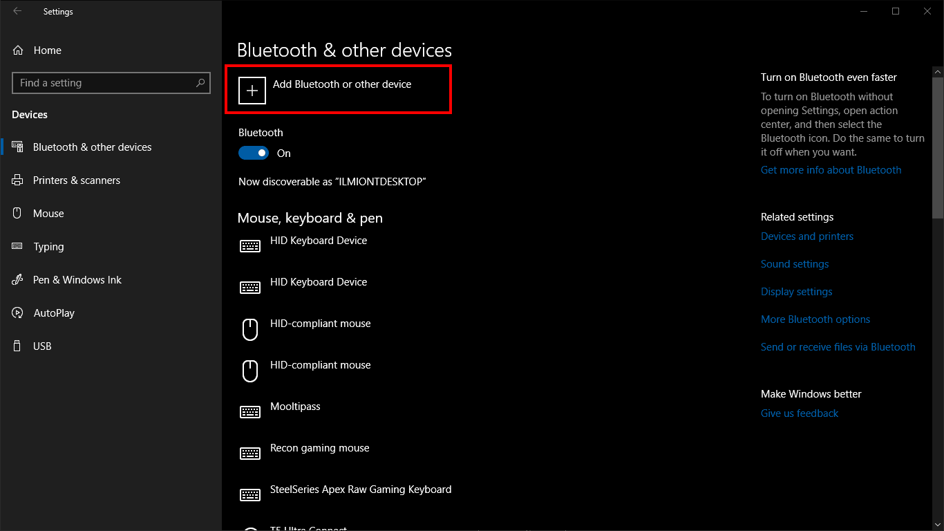 Screenshot of adding a Bluetooth device in Windows 10