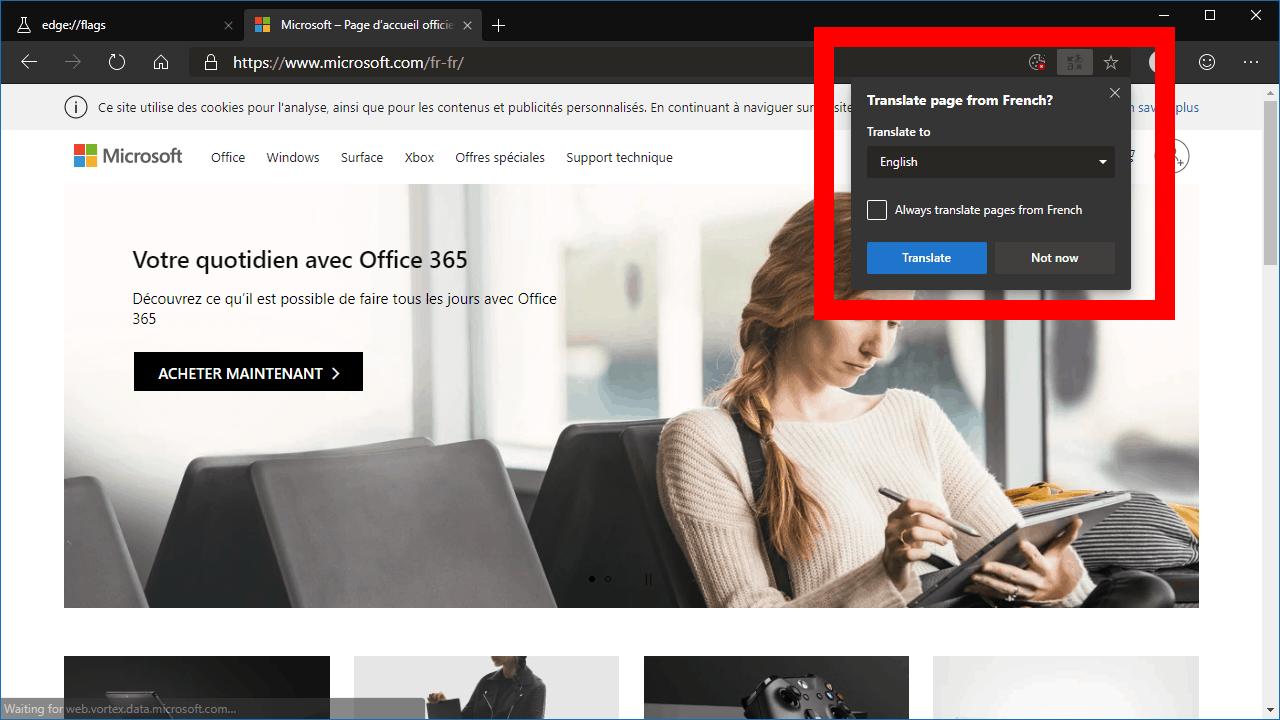 Microsoft Translate in Edge Dev
