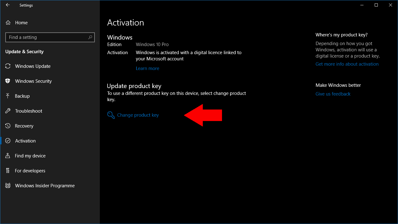 Screenshot of changing product key in Windows 10