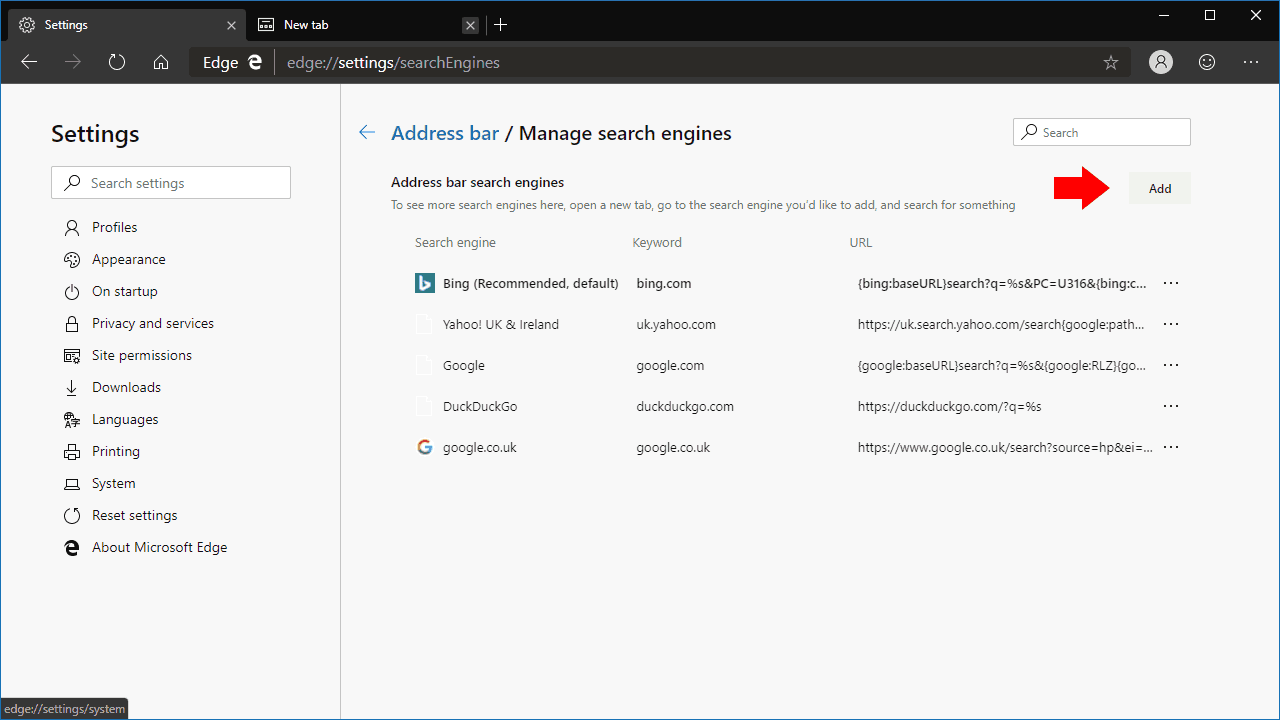 Managing search engines in Microsoft Edge Dev