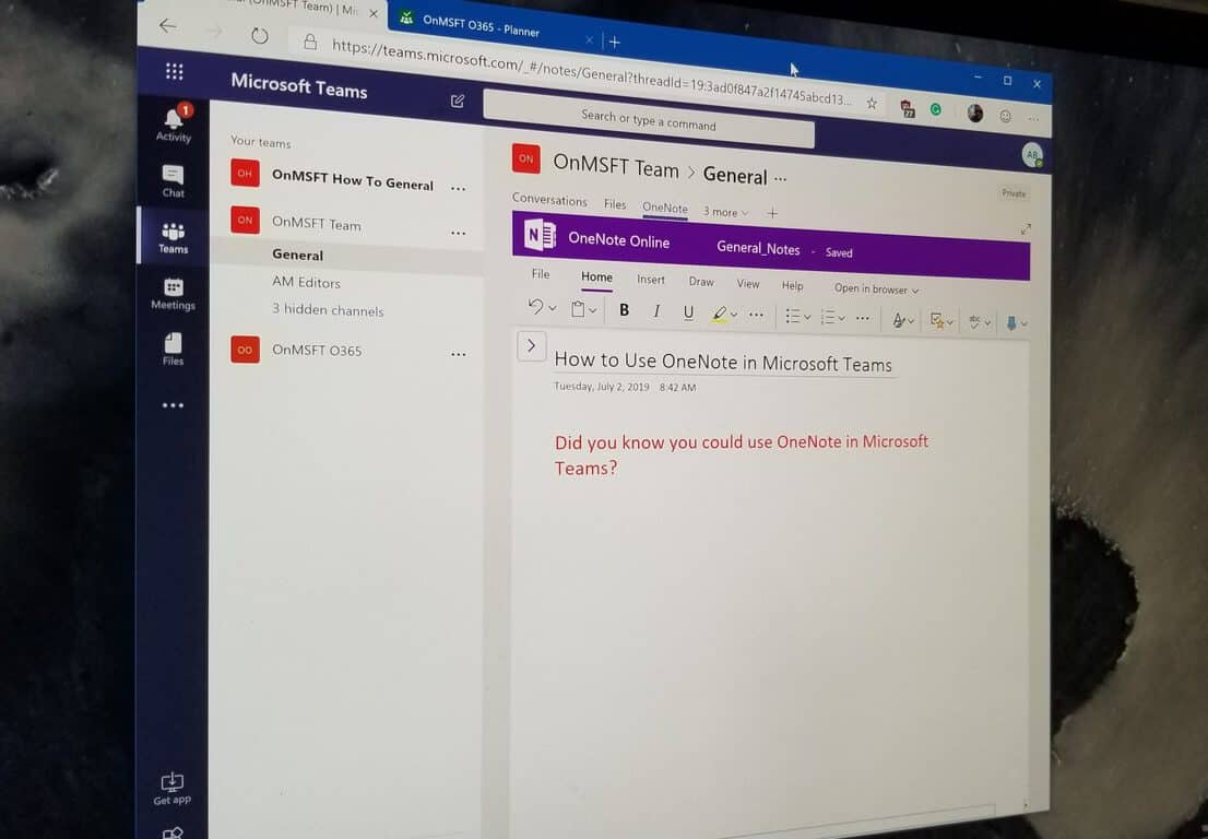 How to use Microsoft OneNote in Microsoft Teams OnMSFT com