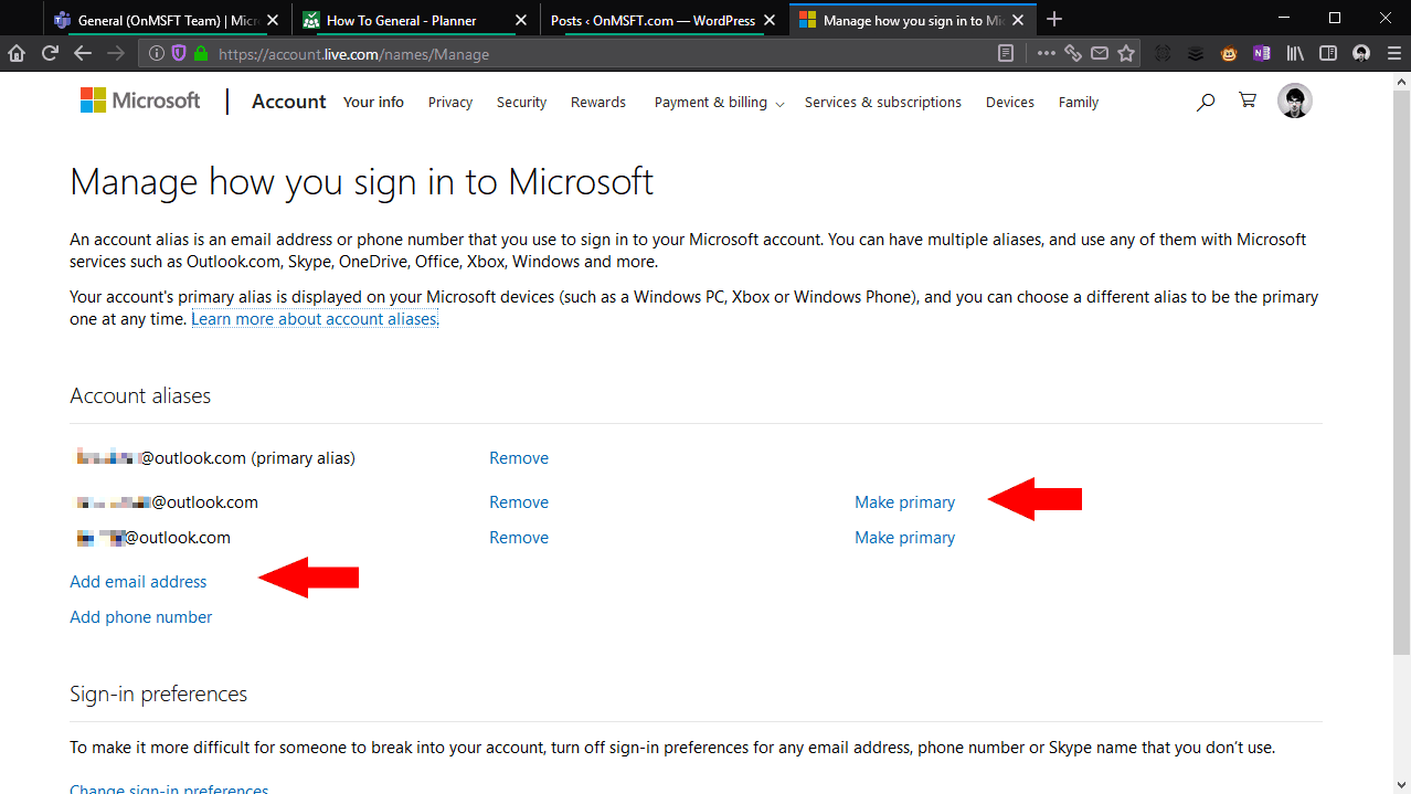 Screenshot of adding an alias to a Microsoft account