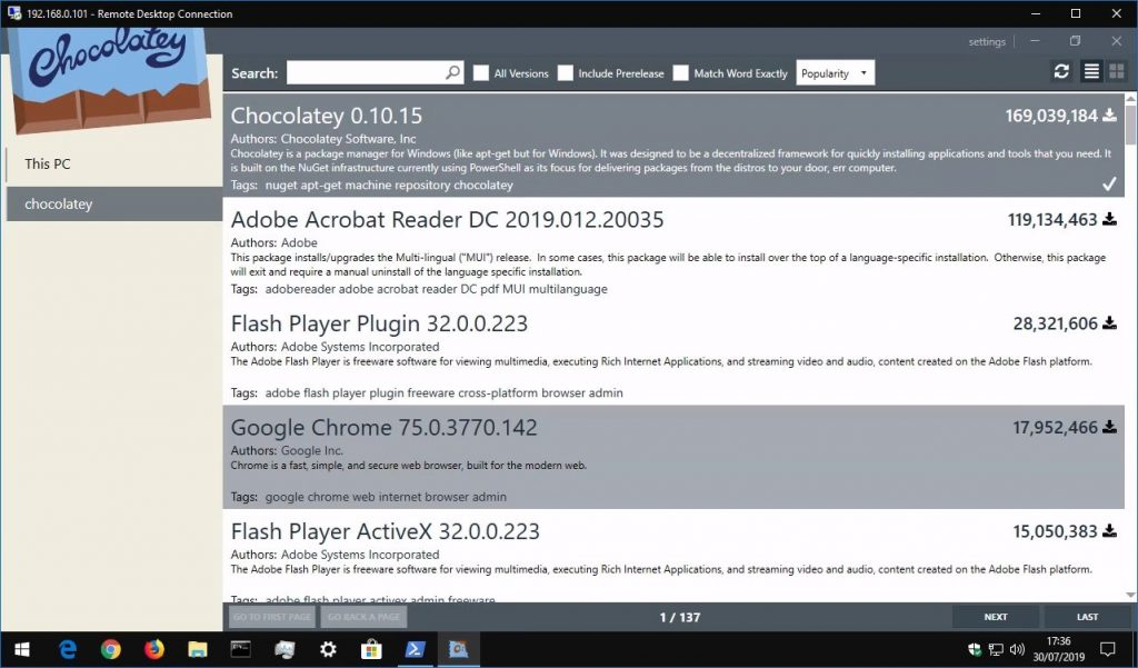 Screenshot of using Chocolatey package manager