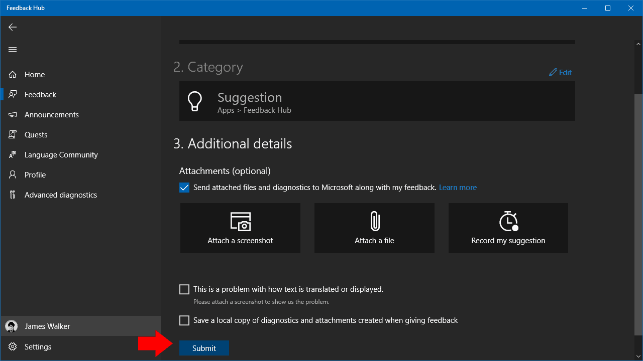 Screenshot of Feedback Hub in Windows 10