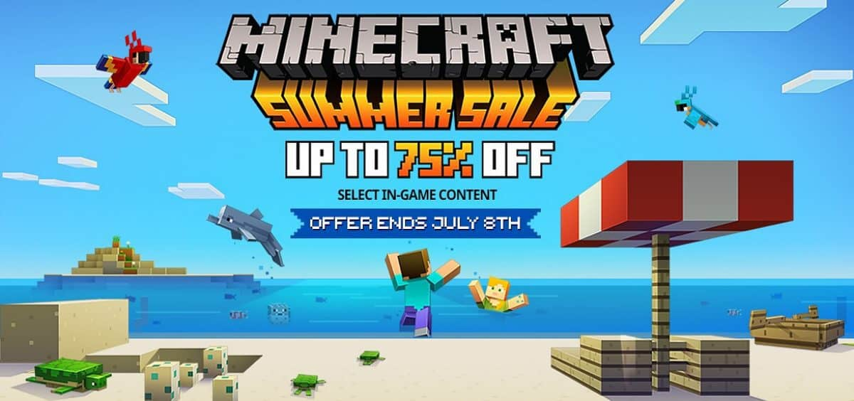 Get the Minecraft Summer Beach Party skin pack for free during the