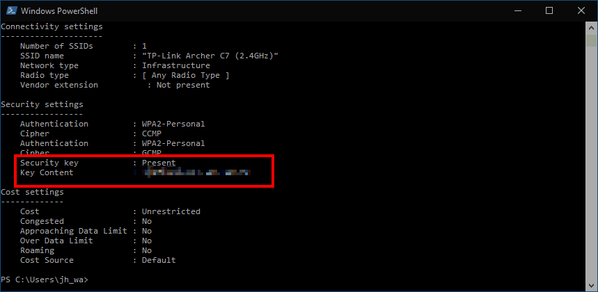 Getting a saved Wi-Fi password in Powershell
