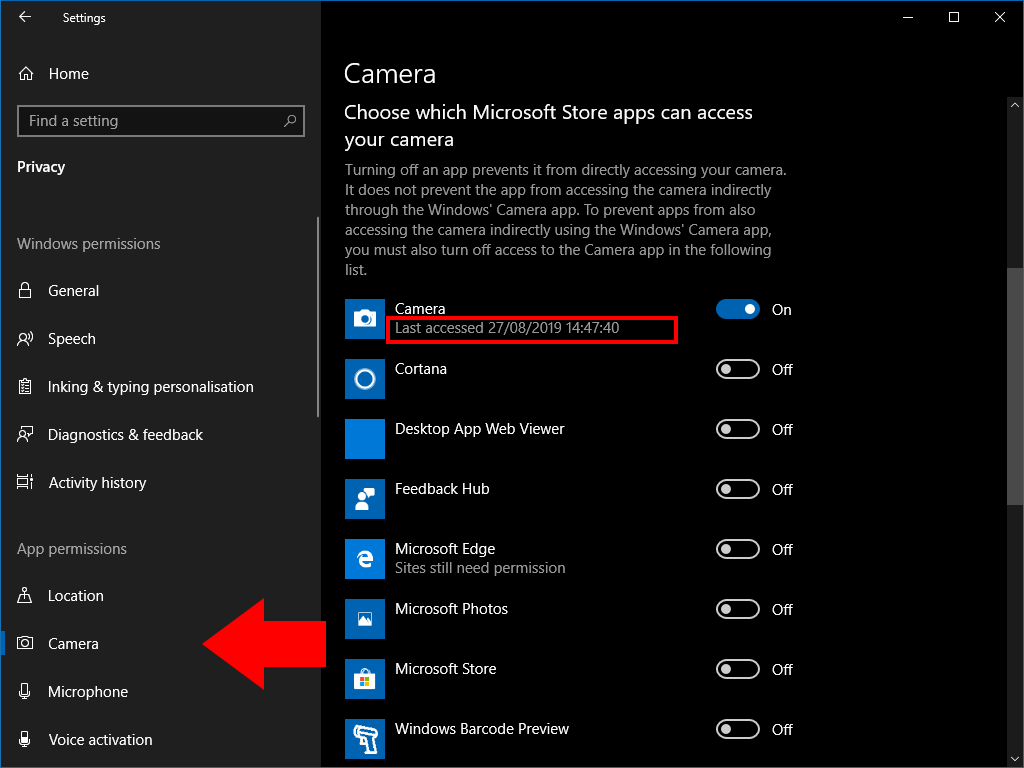 How to see which apps are using your webcam in Windows 10