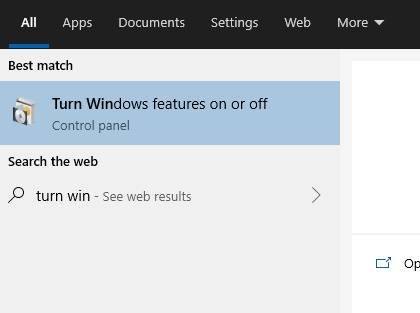 Turn Windows features on and off