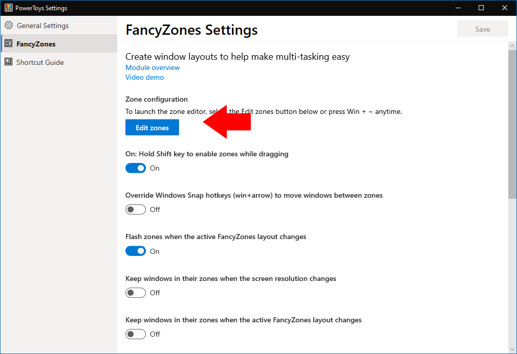 FancyZones settings