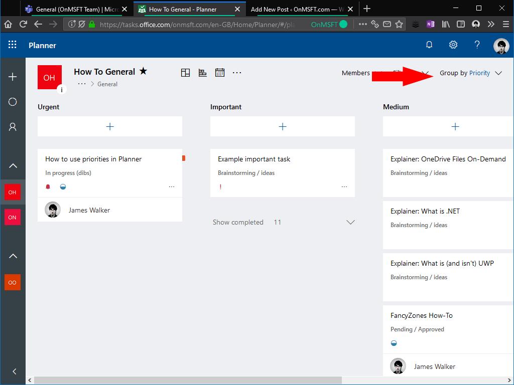 Priorities in Microsoft Planner