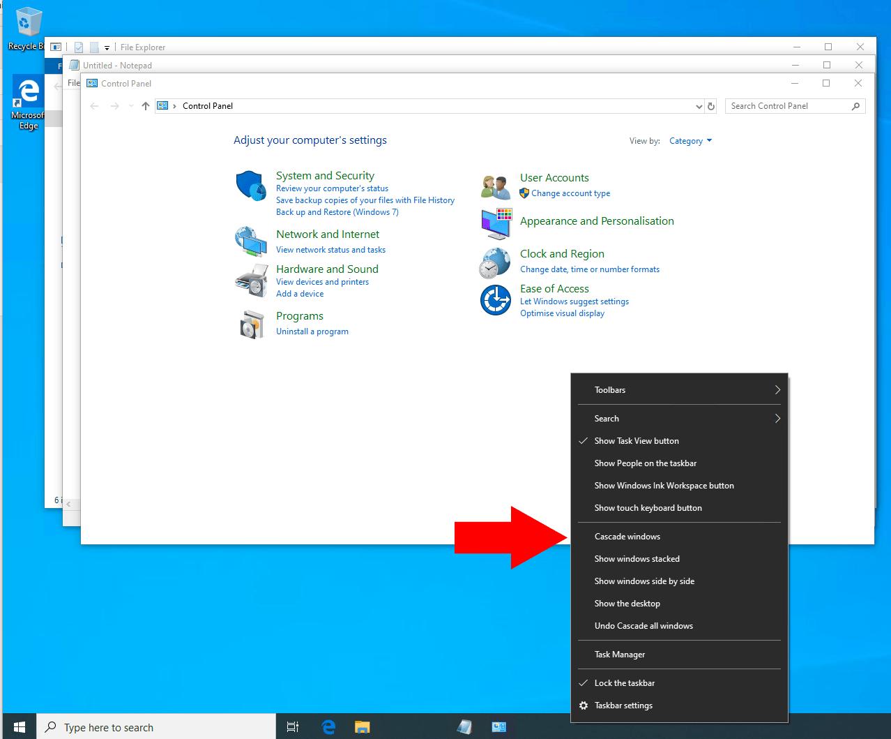 Cascading Windows in Windows 10