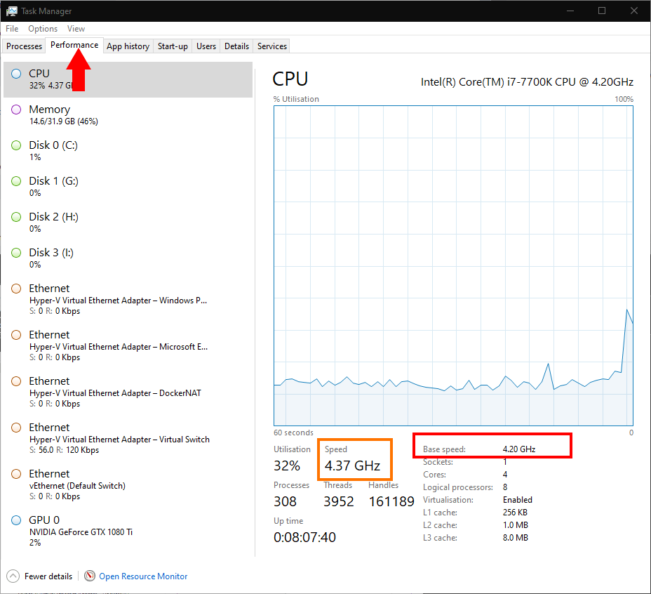 Checking CPU clock speed in Windows 10