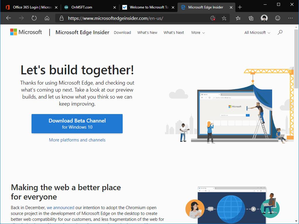Pinned tabs in Microsoft Edge Insider