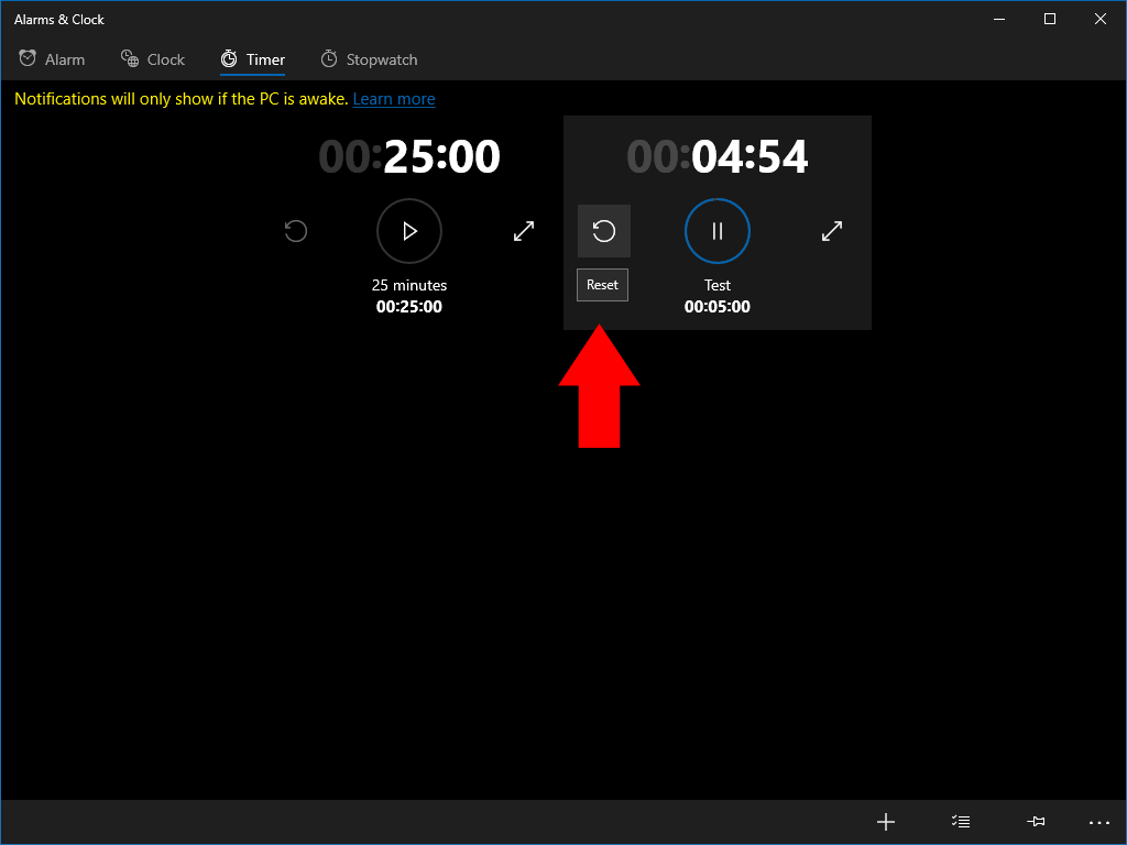 Timers in Windows 10