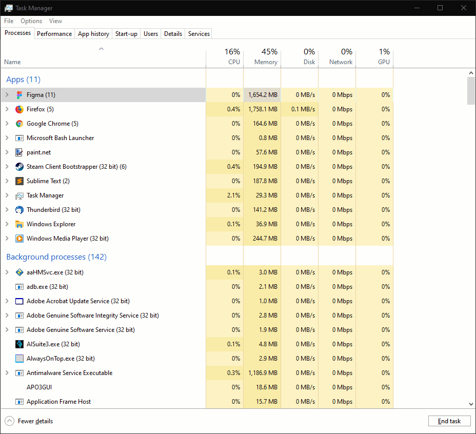 Screenshot of Task Manager in Windows 10