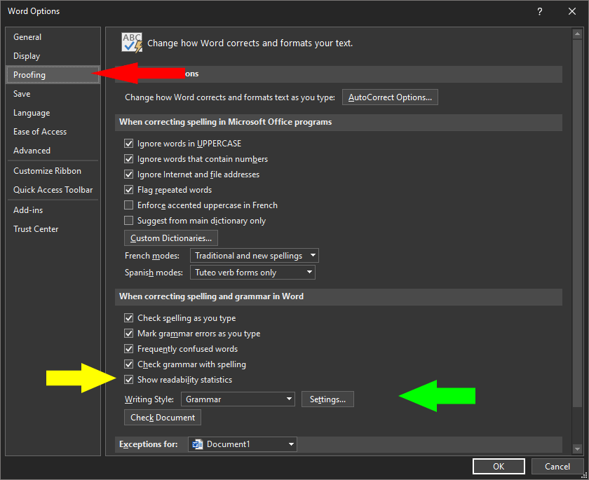 Proofing settings in Office